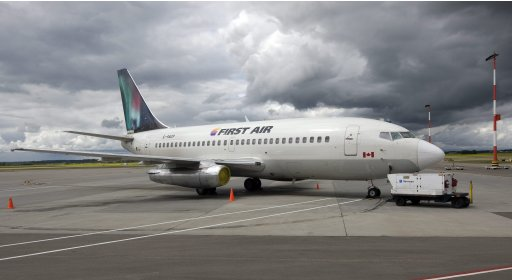 In this July 15, 2009, photo, a Boeing 737 (737-200) jetliner is seen in Edmonton, Canada. A Boeing 737 operated by First Air crashed  near Resolute Bay, Nunavut, killing 12 people on Saturday, Aug. 20, 2011, in Canada.  (AP Photo/The Canadian Press, Larry MacDougal)