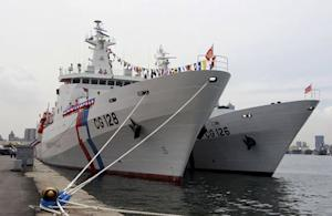 Taiwan Coast Guard's new patrol ship is seen during a commissioning ceremony in the port of Kaohsiung
