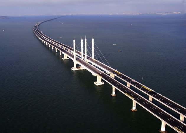 This photo taken Tuesday, June 21, 2011 released by China's Xinhua news agency shows the Jiaozhou Bay Bridge in Qingdao, east China's Shandong Province. China opened Thursday, June 30, 2011, t