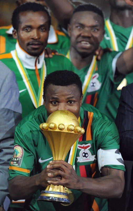 Zambia's Captain Christopher Katongo Kisses AFP/Getty Images