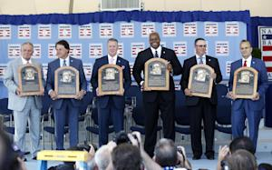 National Baseball Hall of Fame inductees, from left, …