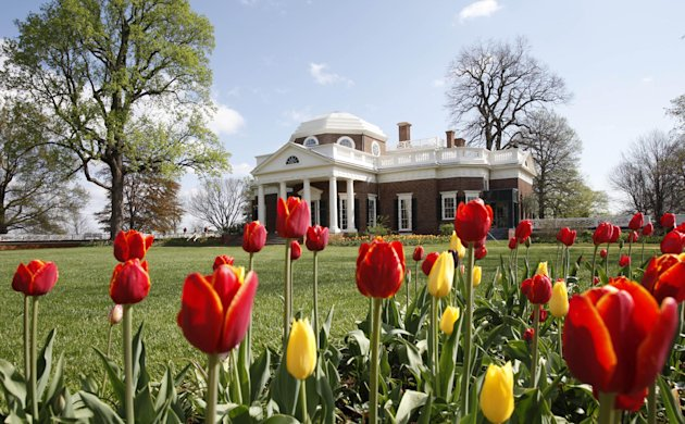 FILE- This April 22, 2009, file photo, shows former President Thomas Jefferson's home, Monticello, in Charlottesville, Va. A $10 million gift from a Washington philanthropist is poised to transform Monticello by helping visitors see the full plantation, including its history with slavery. David Rubenstein, the co-CEO of The Carlyle Group private equity firm, is announcing one of the largest gifts ever for Monticello. It will fund the reconstruction of Mulberry Row, the community where slaves and workers lived on the Virginia plantation. Monticello officials plan to rebuild at least two log buildings where slaves worked and lived. (AP Photo/Steve Helber, File)