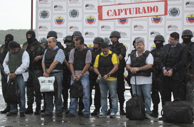Colombian citizens, suspected of drug trafficking, left to right: Jose Reyes Galarza, Jorge Santaella Ayala, Raul Pena Buitrago, Rubernei Vergara, Yesid Rios Suarez and Didier Rios Galindo are present
