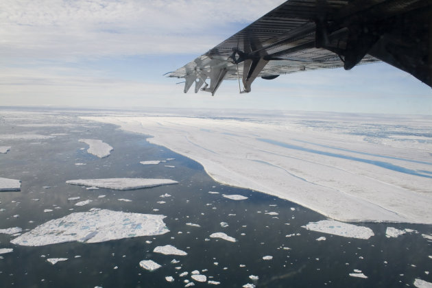 In this July 27, 2008 file photo, a chunk of ice is shown drifting after it separated from the Ward Hunt Ice Shelf off the north coast of Ellesmere Island in Canada's far north. This past summer, Ward