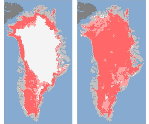 These undated handout images provided by NASA shows the extent of surface melt over Greenland's ice sheet on July 8, left, and July 12, right. Measurements from three satellites showed that on July 8,