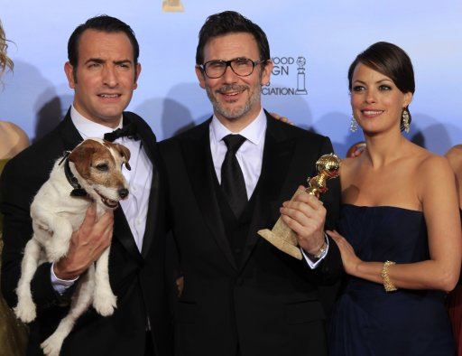 "Dujardin, Hazanavicius and Bejo of ""The Artist"" pose backstage at the 69th annual Golden Globe Awards in Beverly Hills"