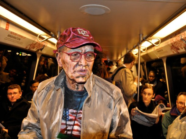 painting of an old man, male art subjects, subway art, portraits, portrait painting, impressionistic painting, photography, Alexa Meade, artist, avant garde art, unusual art, unique photography, painted photography subjects, painted people, photographs of paintings