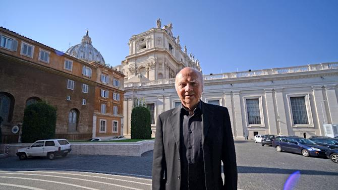 Former French bishop Jacques Gaillot poses for a picture after he was received by Pope Francis on September 1, 2015 at the Vatican