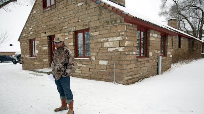 An occupier stands in front of a building at the Malheur National Wildlife Refuge near Burns, Oregon