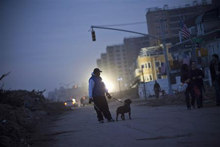 A man and his dog stand in the middle of a road in the Rockaway Beach neighborhood of Queens, New York, November 10, 2012. New York Mayor Michael Bloomberg announced that the day would be a day of service, with volunteers being bused to various neighborhoods affected by Hurricane Sandy to help continue the clean-up process. REUTERS/Andrew Burton