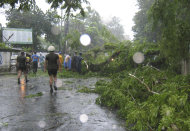 Philippine National Police remove fallen trees Wednesday, July 27, 2011 which were toppled at the onslaught of a slow-moving storm Nock-ten in Legazpi city, Albay province in northeastern Philippines. Nock-ten unleashed massive floods and landslides Tuesday in northeastern Philippines killing at least 14 people with 9 more missing and several towns isolated, officials said Wednesday. The storm is expected to make a landfall Wednesday in Quezon province, south of Manila. (AP Photo)