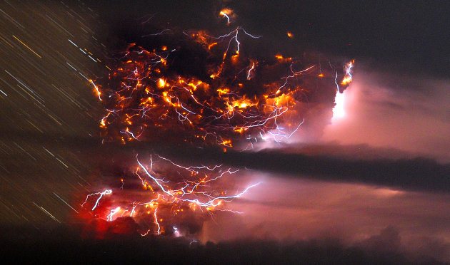 Volcanic lightning is seen over the Puyehue volcano, over 500 miles south of Santiago, Chile, Sunday June 5, 2011. Authorities have evacuated about 600 people in the nearby area. The volcano was calm