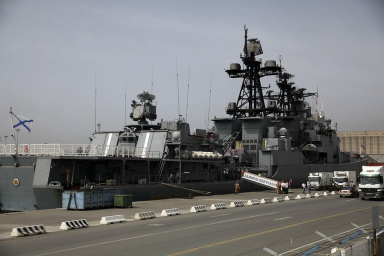 A Russian warship is moored in the Cypriot port of Limassol, on May 17, 2013