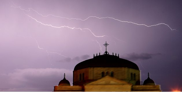 Lightning rips through the sky above the First Methodist Church in Paris, Texas Tuesday, May 24, 2011 as more severe weather formed over Northeast Texas.  (Sam Craft / The Paris News, AP)