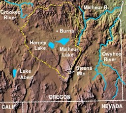 The Harney Basin (dashed yellow perimeter)