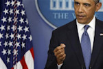Obama makes a point during remarks to reporters after meeting with congressional leaders at the White House in Washington
