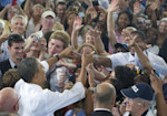 US President Barack Obama greets supporters during a campaign event