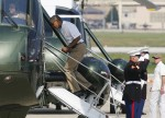 Obama boards Marine One helicopter to depart for Camp David from Andrews Air Force Base