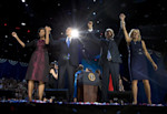 President Barack Obama, first lady Michelle Obama, Vice President Joe Biden and Jill Biden acknowledge the crowd at his election night party Wednesday, Nov. 7, 2012, in Chicago. President Obama ...