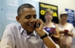 U.S. President Barack Obama thanks volunteers during a visit to a local Obama campaign office in Henderson