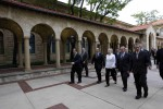 Hillary Clinton walks with Jeffrey Bleich Colin Barnett at The University of Western Australia in Perth