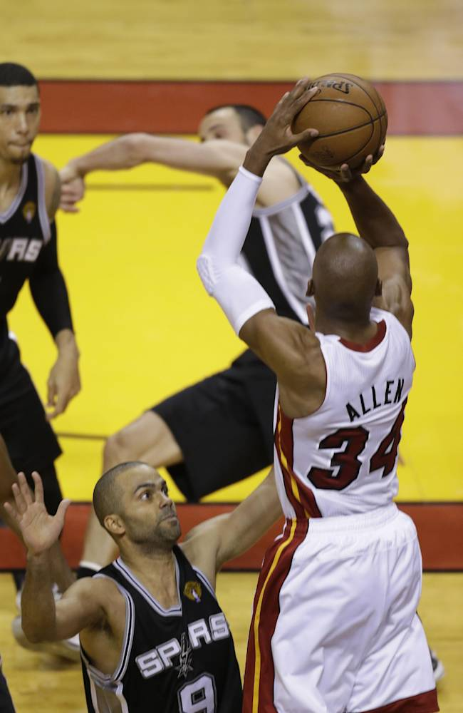 Ray Allen ties Game 6 of the NBA Finals against the San Antonio Spurs as a member of the Miami Heat.