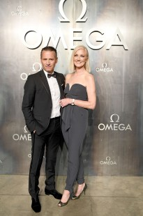 LONDON, ENGLAND - APRIL 26: Omega President and CEO Raynald Aeschlimann with Joely Richardson (R) at the OMEGA 'Lost In Space' dinner to celebrate the 60th anniversary of the OMEGA Speedmaster, which has been worn by every piloted NASA mission since 1965, at Tate Modern on April 26, 2017 in London, England. (Photo by Mike Marsland/Mike Marsland/Getty Images for OMEGA) *** Local Caption *** Raynald Aeschlimann; Joely Richardson