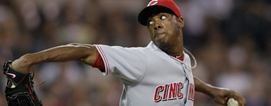 Cincinnati Reds' Aroldis Chapman  thows a 105 mile-an-hour fastball against the San Diego Padres in the eight inning during their baseball game Friday, Sept. 24, 2010, in San Diego. (AP Photo/ Gregory Bull)