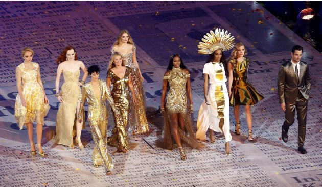 Top models take part in the closing ceremony of the London 2012 Olympic Games at the Olympic Stadium
