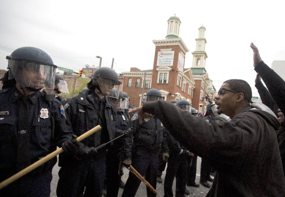 Freddie Gray protestor confronts riot police