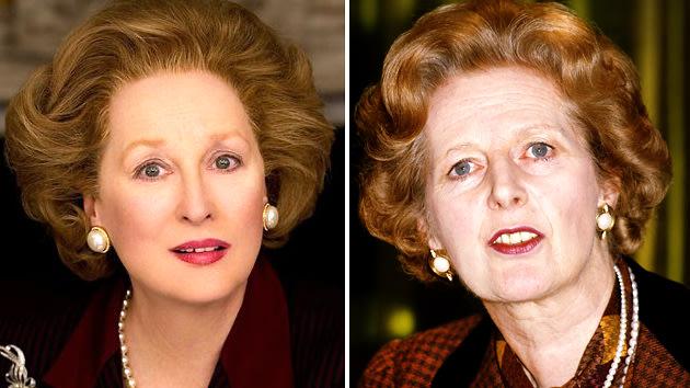 Meryl Streep, left, and Margaret Thatcher