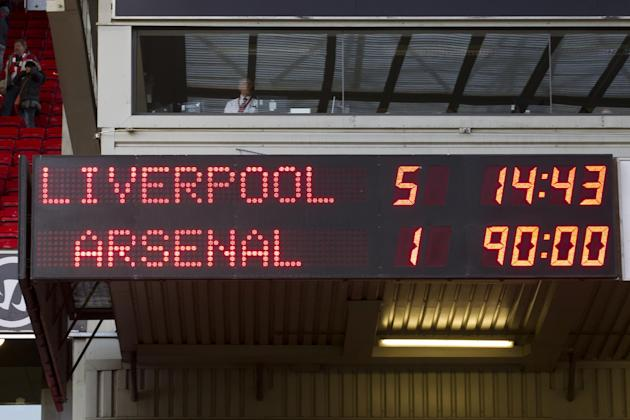The scoreboard shows the final result as Liverpool beat Arsenal in their English Premier League soccer match at Anfield Stadium, Liverpool, England, Saturday Feb. 8, 2014. (AP Photo/Jon Super)