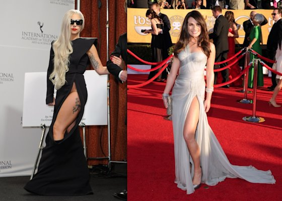 The thigh-split: A very sultry look seen all over the red carpet this season is the leg-split gown. A good rule of thumb? No one wants to see your naked hipbones. Lady Gaga took this too far (obviously) while Lea Michele nailed it.  (Andrew H Walker & Jason Merritt/Getty)