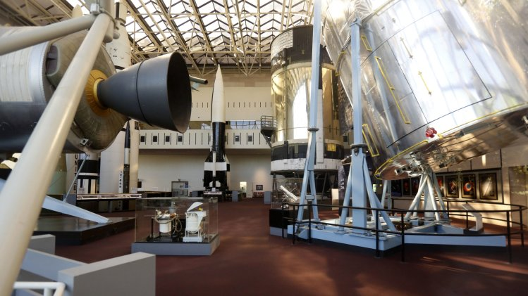 The inside of the closed Smithsonian Air and Space Museum is seen in Washington