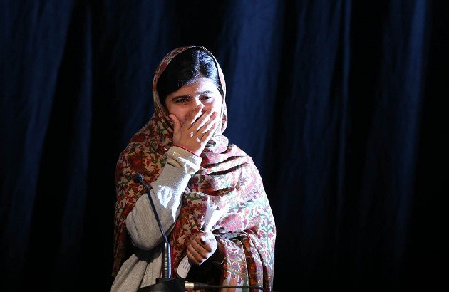 Malala Yousafzai, gives a speech after she received the Amnesty International Ambassador of Conscience award for 2013 at a ceremony in the Mansion House Dublin