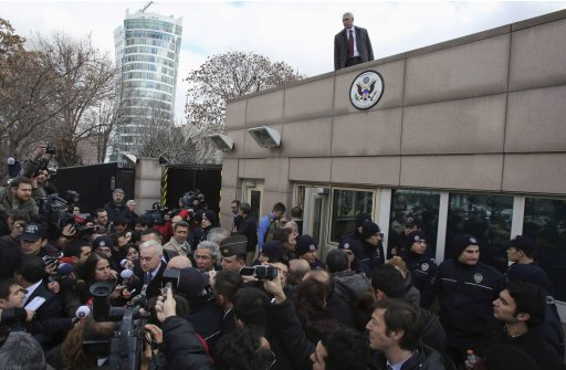 U.S. Ambassador to Turkey Francis Ricciardone speaks to media outside of the U.S. Embassy in Ankara