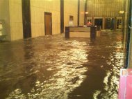 The lobby of Verizon's Corporate headquarters in Manhattan is shown underwater October 29, 2012 in this handout photo supplied by Verizon in New York Tuesday. REUTERS/Verizon/Handout