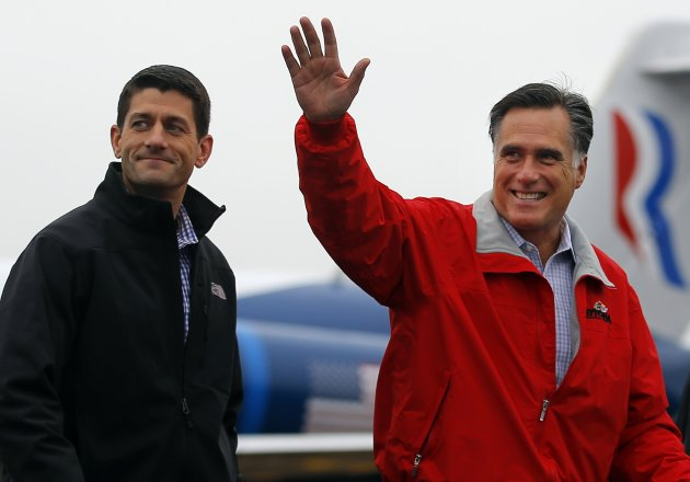 Republican presidential candidate and former Massachusetts Governor Mitt Romney is joined by vice-presidential candidate U.S. Congressman Paul Ryan (R-WI) (L) at a campaign rally at the airport in Dayton, Ohio September 25, 2012.   REUTERS/Brian Snyder    (UNITED STATES - Tags: POLITICS ELECTIONS USA PRESIDENTIAL ELECTION)