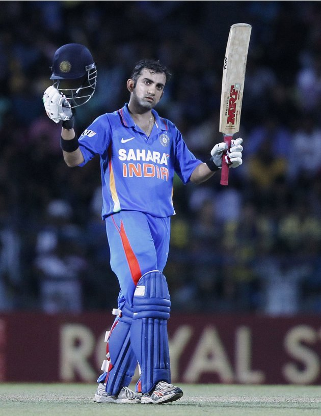India's Gambhir celebrates after scoring a century during the third One-Day International cricket match against Sri Lanka in Colombo