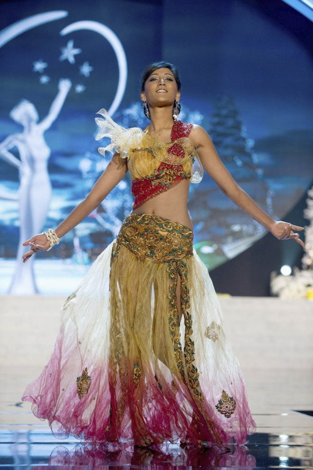 Miss Mauritius Ameeksha Dilchand performs onstage at the 2012 Miss Universe National Costume Show at PH Live in Las Vegas