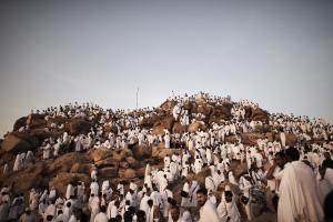Muslim pilgrims gather on Mount Arafat near Mecca as…