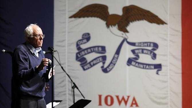 FILE - In this Oct. 23, 2015, file photo, Democratic presidential candidate, Sen. Bernie Sanders, I-Vt., speaks during a concert hosted by his campaign in Davenport, Iowa. For Sanders, victory in Iowa's kickoff presidential caucuses hinges on a simple proposition: that his message of political revolution will inspire people who typically stay home on that deep-winter night. (AP Photo/Charlie Neibergall, File)