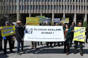 Turkish environmental activists stage a protest against …