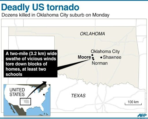 Graphic showing the US suburb of Moore in Oklahoma City