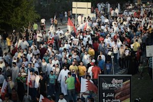 Bahraini protesters take part in an anti-government …