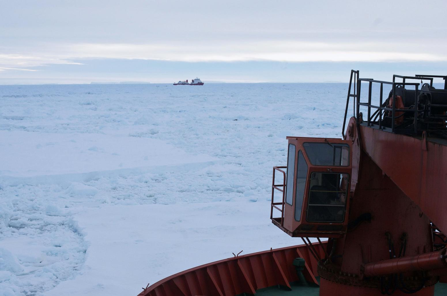 Handout shows the Chinese Xue Long icebreaker, as seen from Australia's Antarctic supply ship, the Aurora Australis, sitting in an ice pack unable to get through to the MV Akademik Shokalskiy, in East Antarctica
