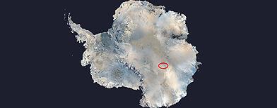 Ubicación del Lago Vostok, en la Artártida. (NASA)