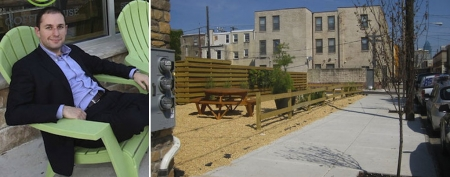 Ori Feibush sits outside his coffee shop. (Steven M. Falk/Daily News)