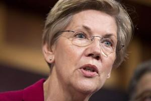 Senator Elizabeth Warren (D-MA) speaks at a news conference to warn about the abolishment of Consumer Financial Protection Bureau in the proposed budget put forward by Senate Republicans