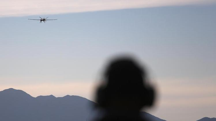 A US predator drone takes off for a surveillance flight near the Mexican border on March 7, 2013